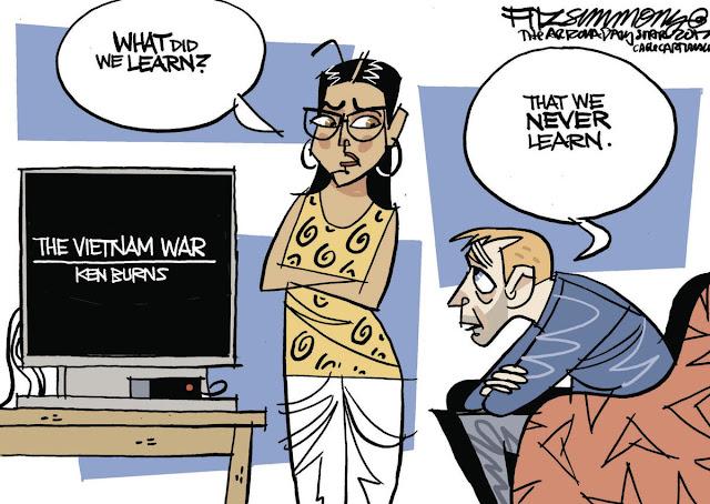 Couple watching Ken Burns's Viet Nam War documentary.  Woman says,