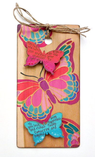 Colorful Cherry Wood Tag with Stenciled and Chipboard Butterflies