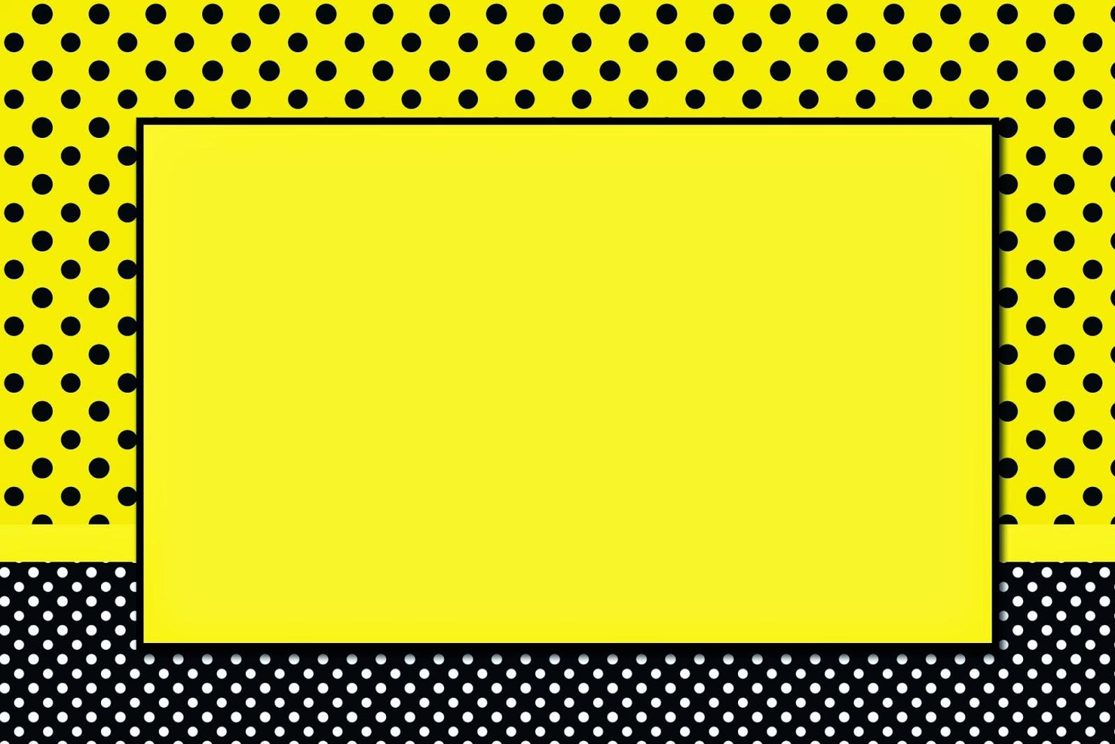 Para hacer invitaciones, tarjetas, marcos de fotos o etiquetas, para imprimir gratis de Amarillo con Lunares Negros.