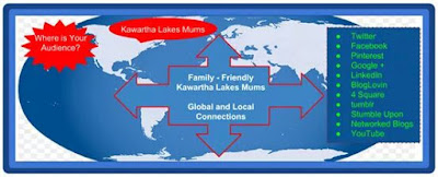 Kawartha Lakes Advertising Local Focus International Reach Shows World Map and Social Media Platforms