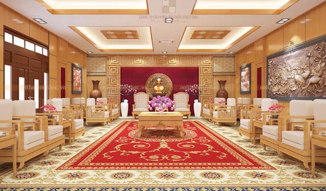 Mẫu thiết kế nội thất phòng khánh tiết này gây ấn tượng với bức tranh đồng nổi bật với hình ảnh của con cò, con vạc dưới đầm sen