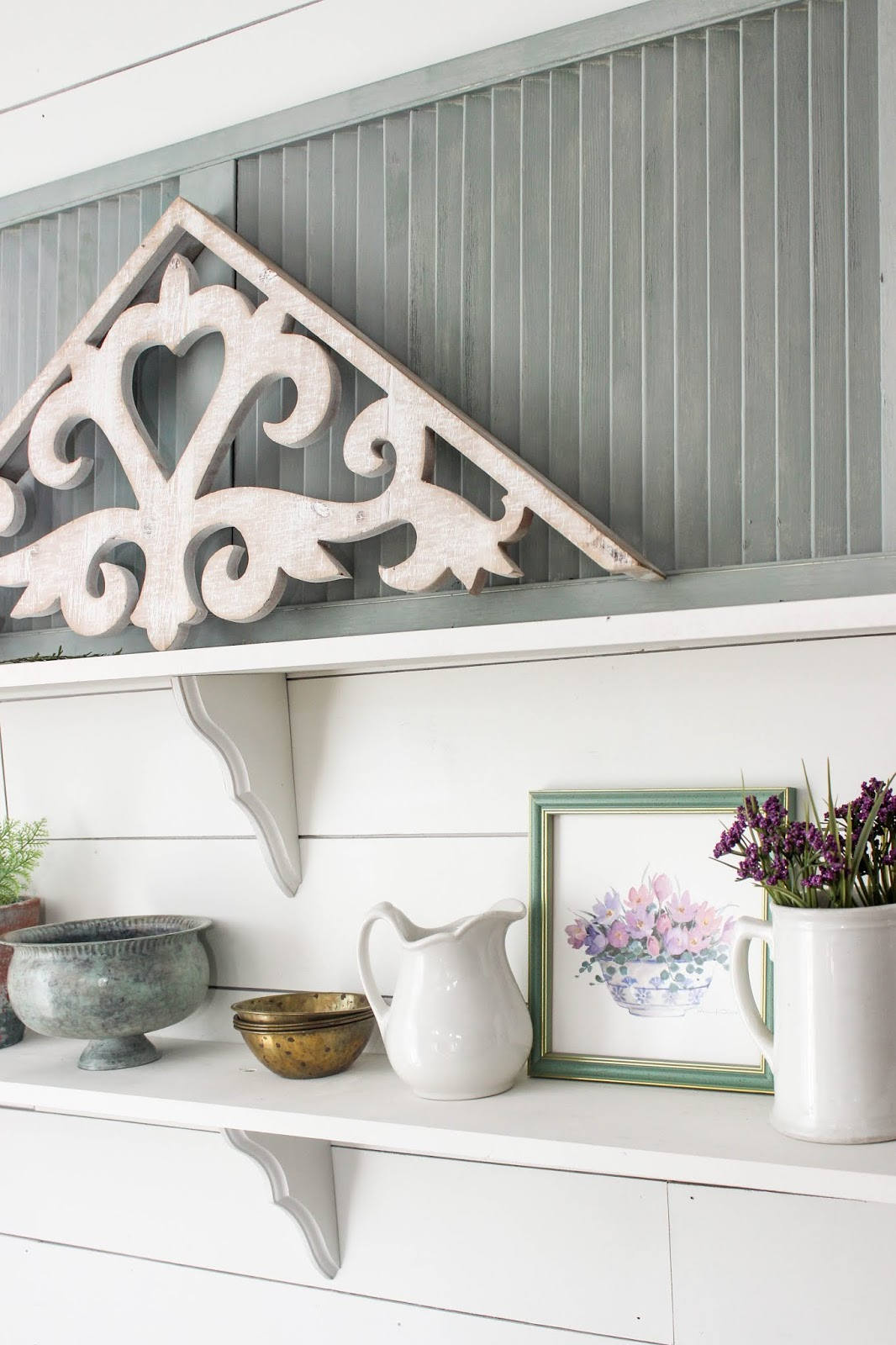 decorating shelves for spring
