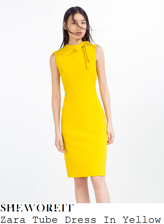 katherine-jenkins-zara-bright-yellow-sleeveless-bow-detail-tube-pencil-dress