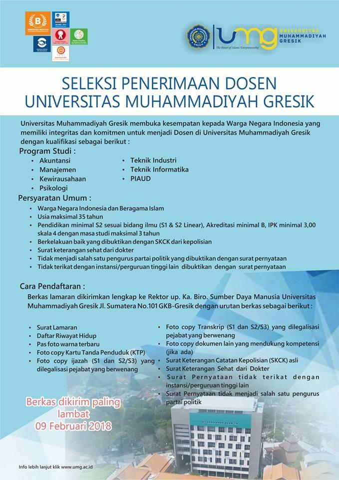 Lowongan Dosen Universitas Muhammadiyah Gresik Akuntansi, Manajemen dll
