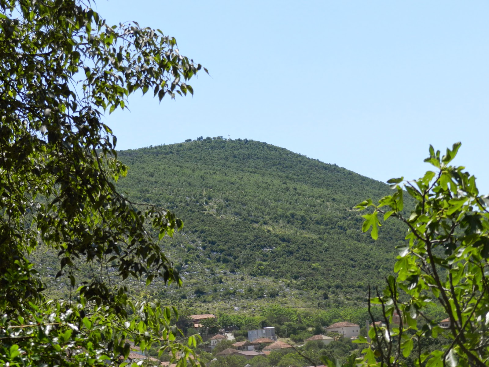 A photo of Cross Mountain taken from Apparition Hill.