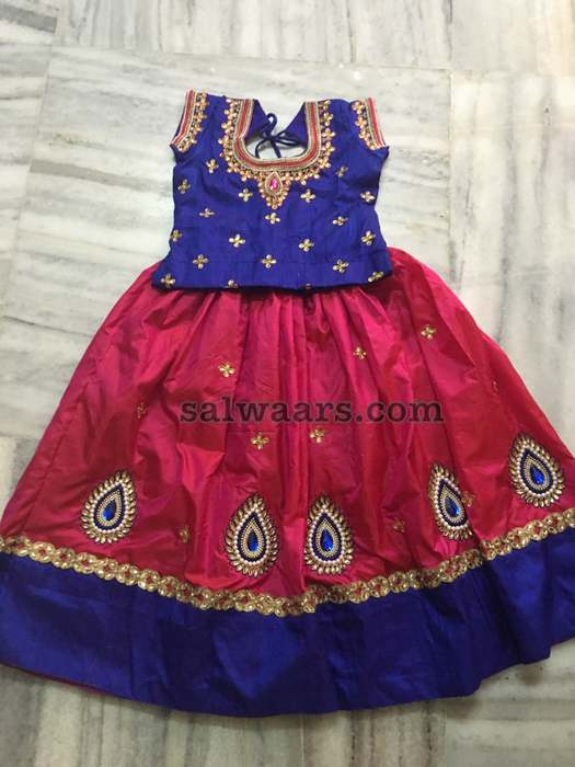 Pink and Blue Kundan Pearl Lehenga