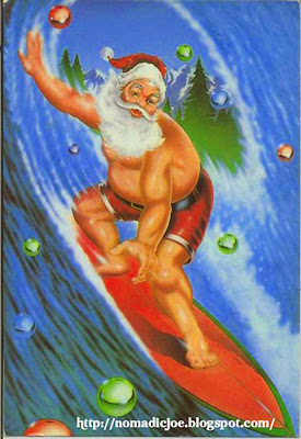 Santa Claus Surfing