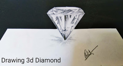 How to draw diamond drawing 3d, step by step tutorial, online class, learn to draw,