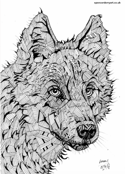 An original animal wild life art drawing. A stylised illustration of a Wolf, hand-drawn by British artist Spencer J. Derry in 2018. Artwork is Not Framed.