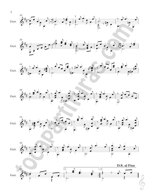 Partitura 2  Partitura de Guitarra Clásica de María Luisa de Antonio Lauro Vals para guitarra