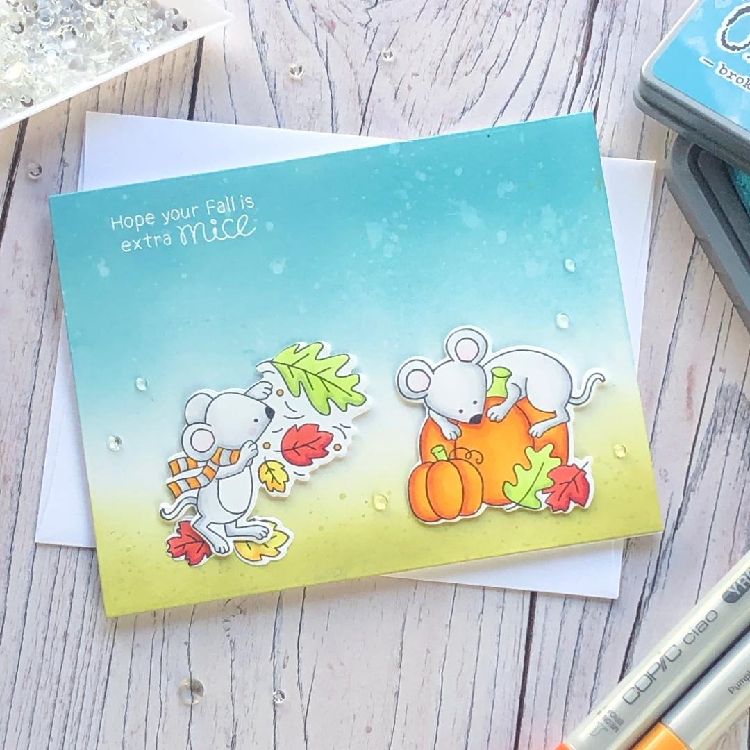 Extra Mice Fall Card by October Guest Designer Noga Shefer | Autumn Mice Stamp Set by Newton's Nook Designs #newtonsnook #handmade