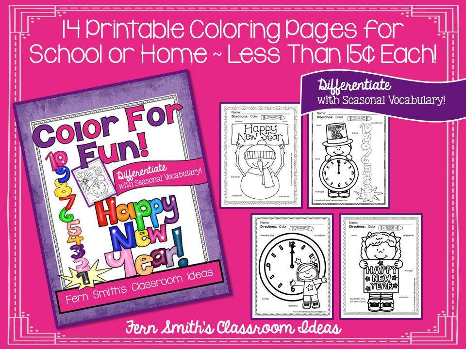 Fern Smith's Classroom Ideas Happy New Year Fun with Seasonal Vocabulary! Color For Fun Printable Coloring Pages