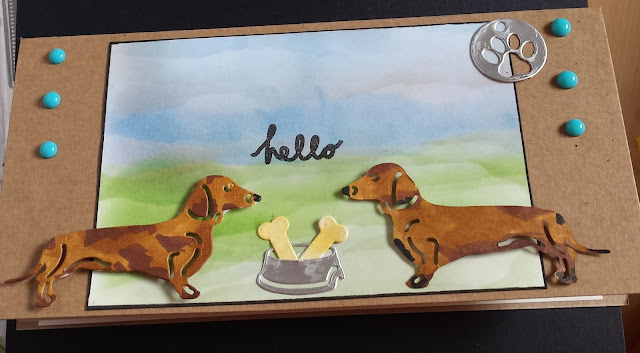 Hello - duo of Dachshunds - hand coloured DL Kraft card