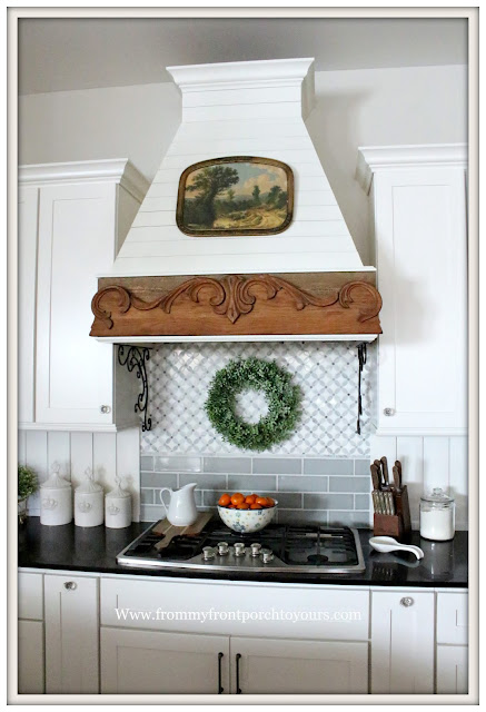 French Country Farmhouse Kitchen-Cottage Style-Custom Backsplash-Custom Range Hood-French Farmhouse-From My Front Porch To Yours