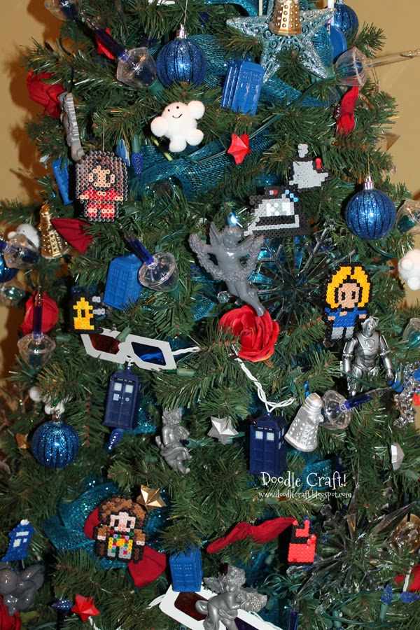 My kids are on a rampage adding pertinent things to our. Doctor Who  Christmas Tree! So, the 11, 9 and 5 year old sat down and made Perler Bead  ornaments. - Doodlecraft: Doctor Who Perler Bead Ornaments!