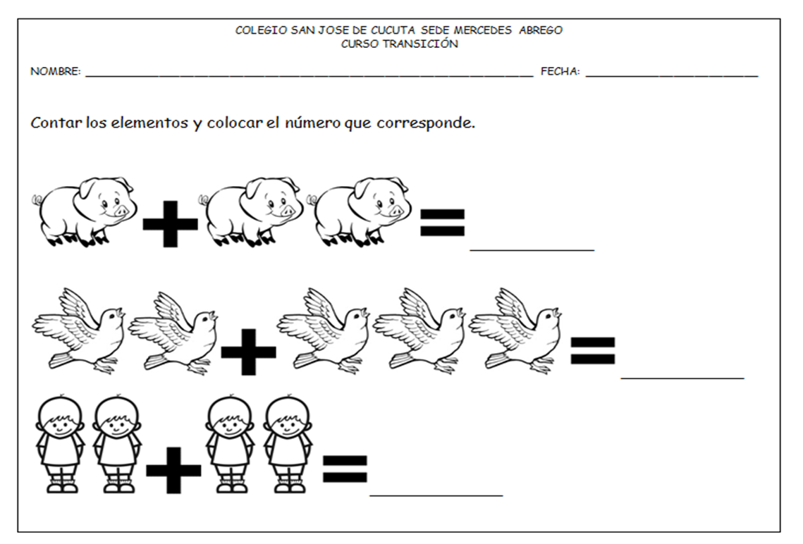 Sumas Para Preescolar Con Dibujos Para Colorear