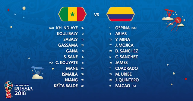 Starting XI: Senegal vs Colombia