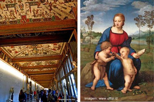 """Afrescos nos tetos dos corredores da Galleria degli Uffizi e a tela """"Madona do Caderninho"""", de Rafael"""