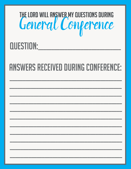 Use this printable to keep track of your personal questions and the answers you receive during General Conference. Great for teens and adults and older kids. #overstuffedlife
