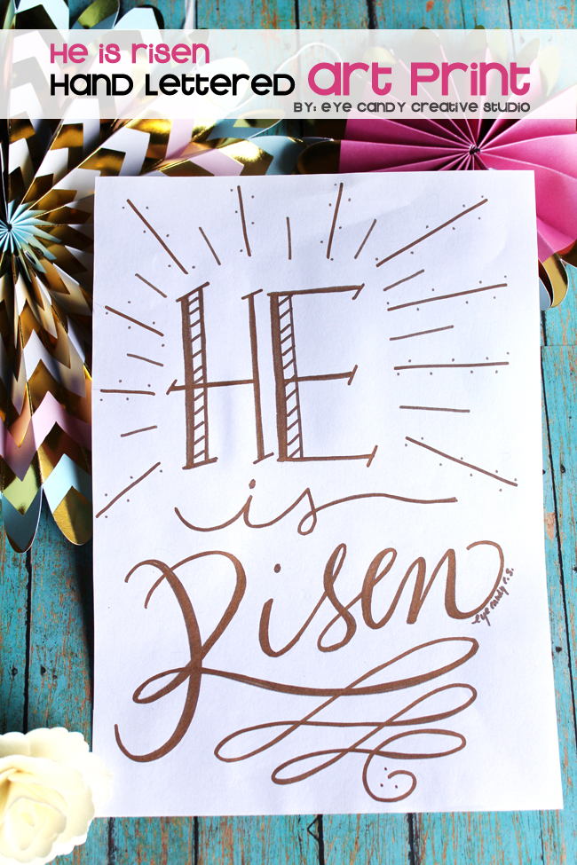 he is risen, easter art print, hand lettered, modern calligraphy, easter decor