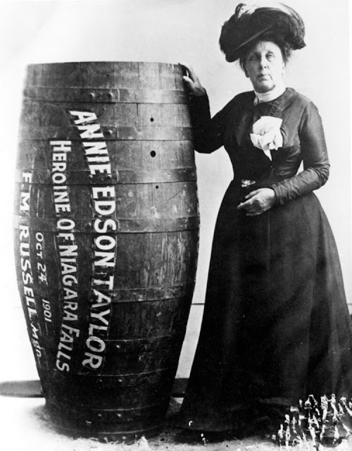 """The Queen of the Mist"" posing with her barrel."