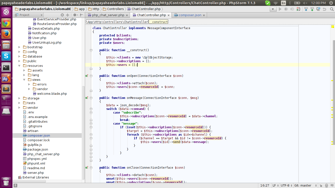 Use Web Socket for Chat in Laravel 5 (Using Ratchet for