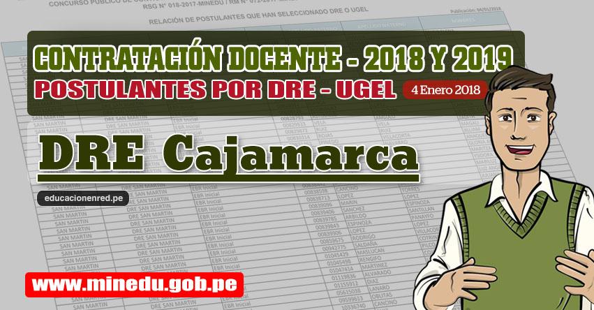 DRE Cajamarca: Lista de Postulantes por UGEL DRE - Contrato Docente 2018 (.PDF) www.educacioncajamarca.gob.pe
