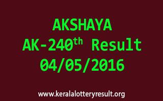 AKSHAYA AK 240 Lottery Result 4-5-2016