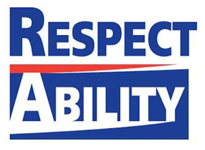 RespectAbility logo: Respect stacked above Ability in a bold font. Respect is blue on a white background. Ability is white in a boxed in blue background. A red triangular stripe is between them.