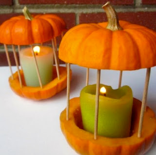 porta candele con zucche fresche fai da te