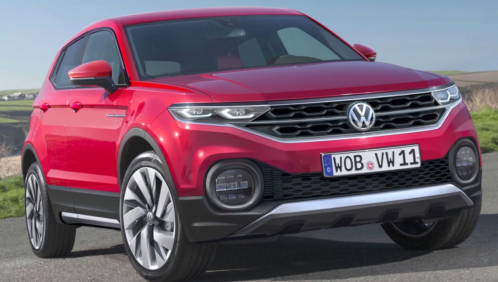 foto volkswagen t-cross vista frontale e profilo sinistro colore rosso