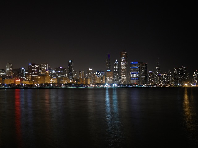 Views of the City from the Middle of Lake Michigan in the evening