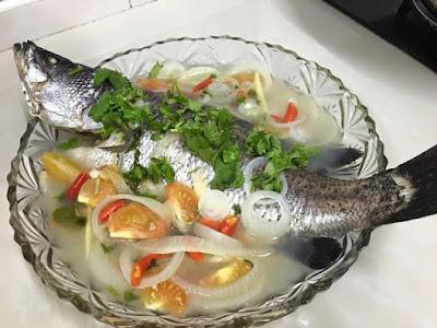 Resepi Ringkas Ikan Siakap Masak Kukus Pedas
