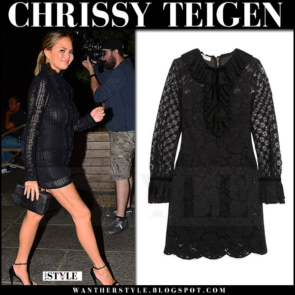 Chrissy Teigen in black lace mini dress philosophy di lorenzo serafini july 26 2017 date night outfit