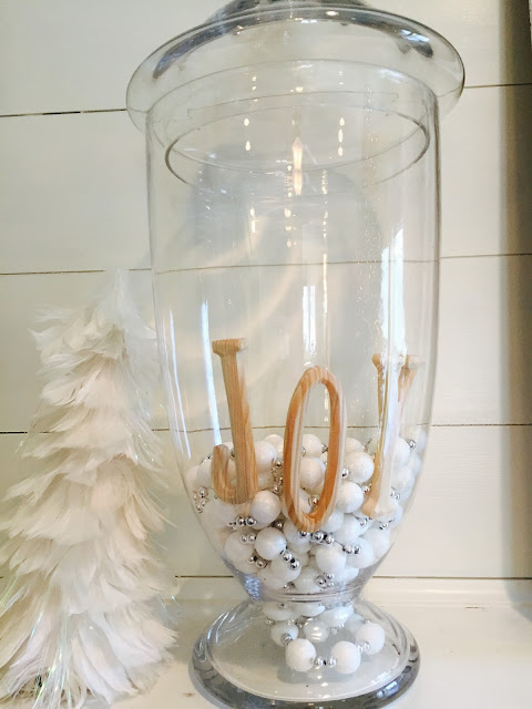 White Christmas mantle decor, Joy, Christmas decoations, Christmas mantle decor