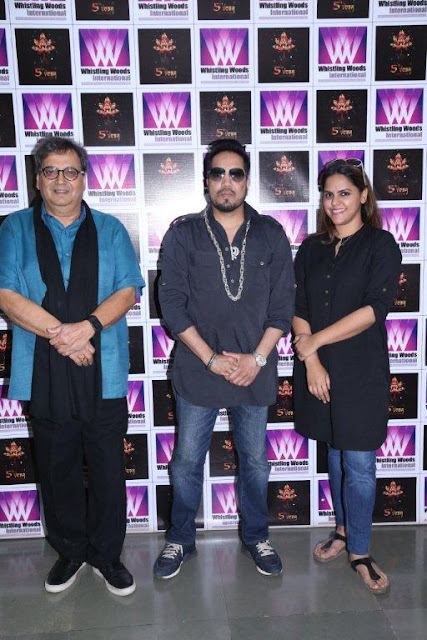 L to R Subhash Ghai, Mika Singh and Meghna Ghai Puri