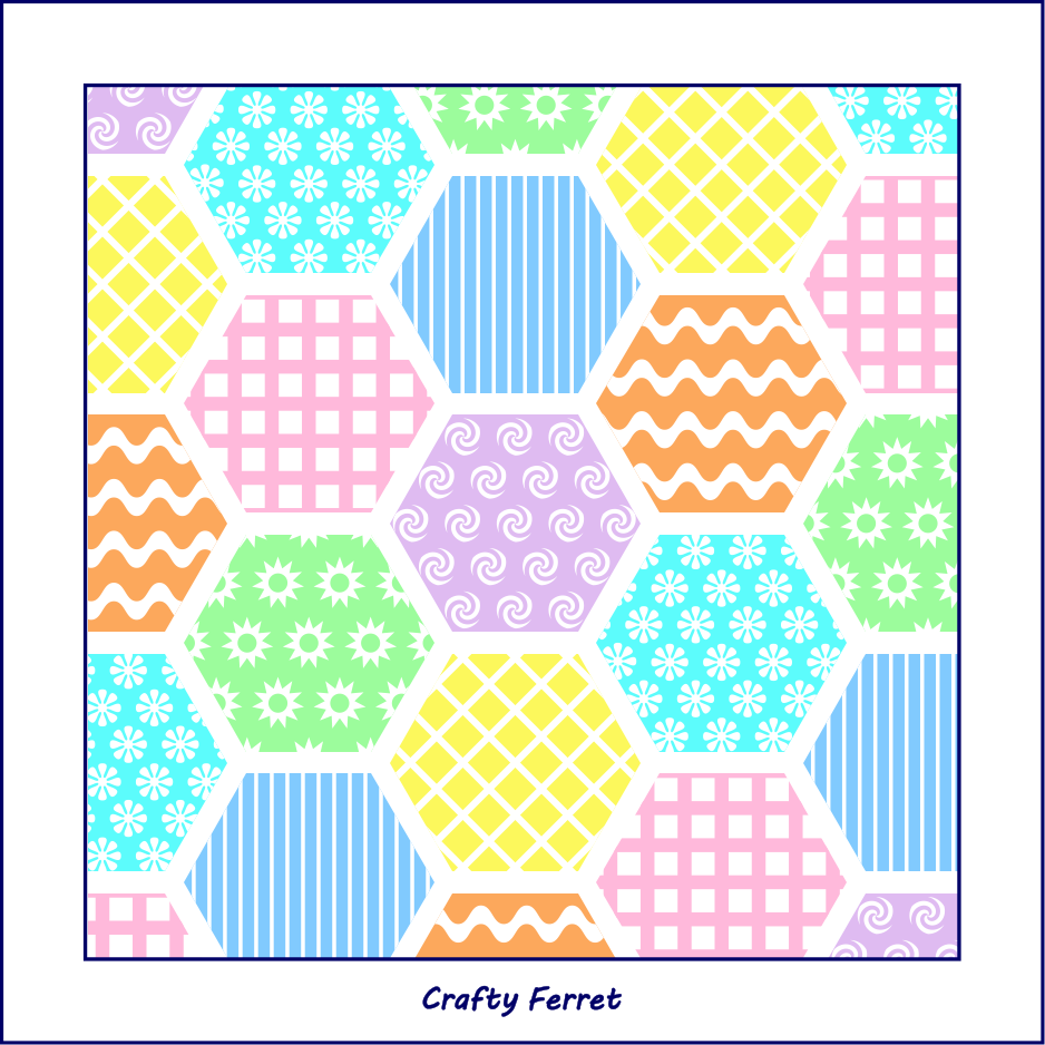 Patchwork effect repeat hexagons in mixed patterns and colours craft pattern sheet.