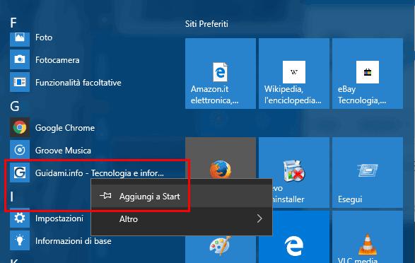 Aggiungere collegamento sito web a menu Start Windows 10
