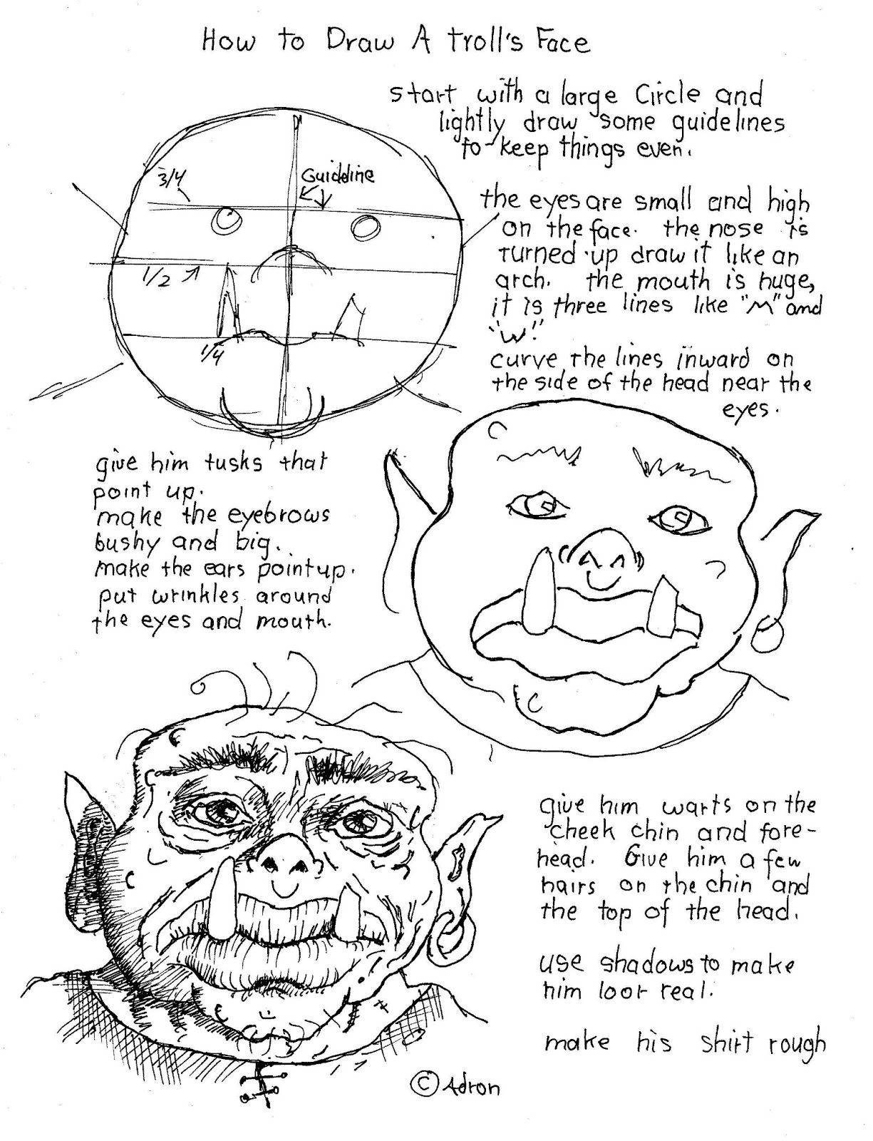 How To Draw Worksheets For The Young Artist How To Draw A Troll S Face Worksheet