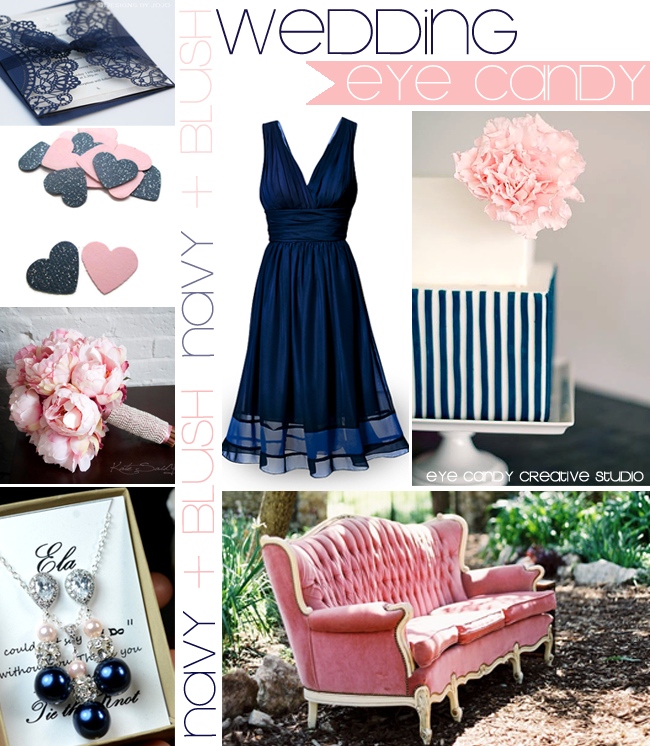 navy cocktail dress, blush bouquet, blush velvet couch, navy wedding