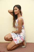 Nishi Ganda stunning cute in Flower Print short dress at Tick Tack Movie Press Meet March 2017 085.JPG
