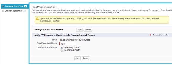 Fiscal year and its customization in Salesforce
