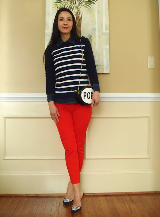 "Classic Stripes and a ""Pop"" of Red"