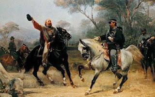 A painting by Sebastiano de Albertis shows Garibaldi hailing Victor Emmanuel II as King of Italy at Teano, near Naples
