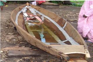 Lekki Lagoon planked canoe interior