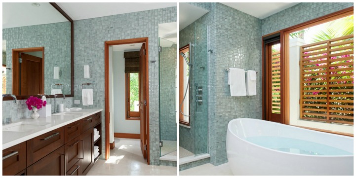 Coastal aqua spa like bathroom
