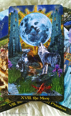 XVII: The Moon.  From the Illuminati Tarot by Lo Scarabeo.