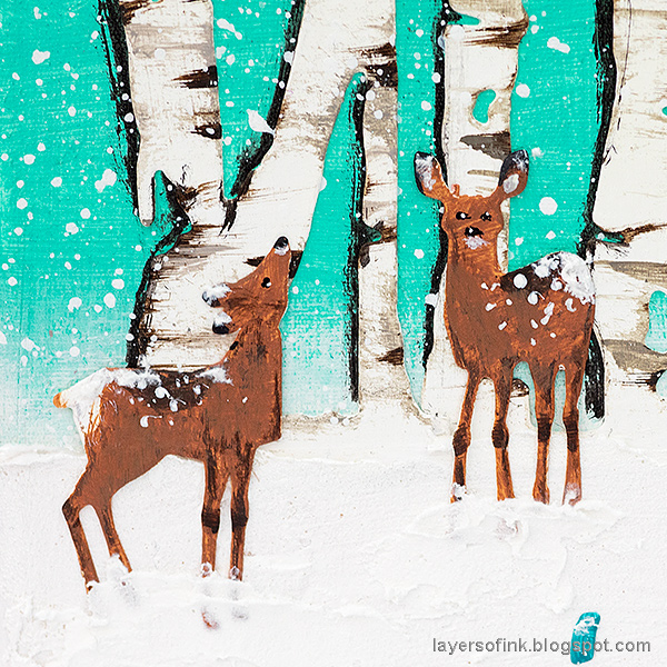 Layers of ink - Birch Forest December Daily Tutorial by Anna-Karin Evaldsson. Two deer standing in snow.