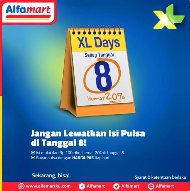 Alfamart XL Days Diskon Hemat 20% Setiap Isi Pulsa Tanggal 8