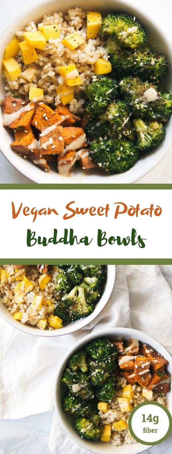 Vegan Sweet Potato Buddha Bowls with Almond Butter Dressing #vegetarian #glutenfree